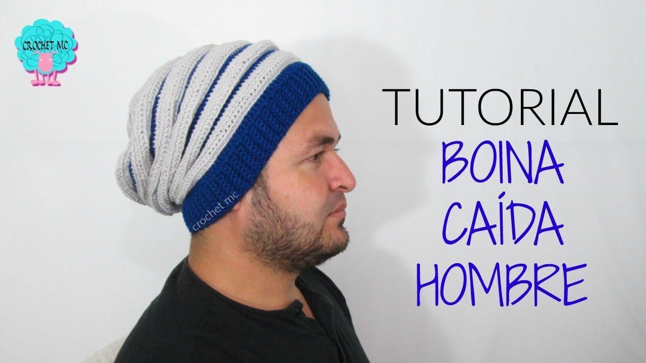 Boina caída hombre a crochet / tutorial - YouTube