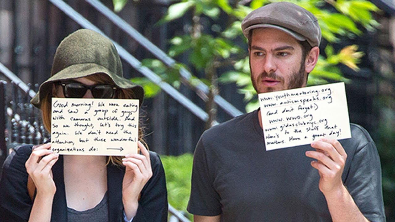 Andrew Garfield and Emma Stone Use Paparazzi to Promote Charities