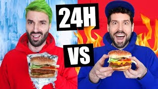 ON MANGE CHAUD VS FROID PENDANT 24H CHALLENGE - HUBY