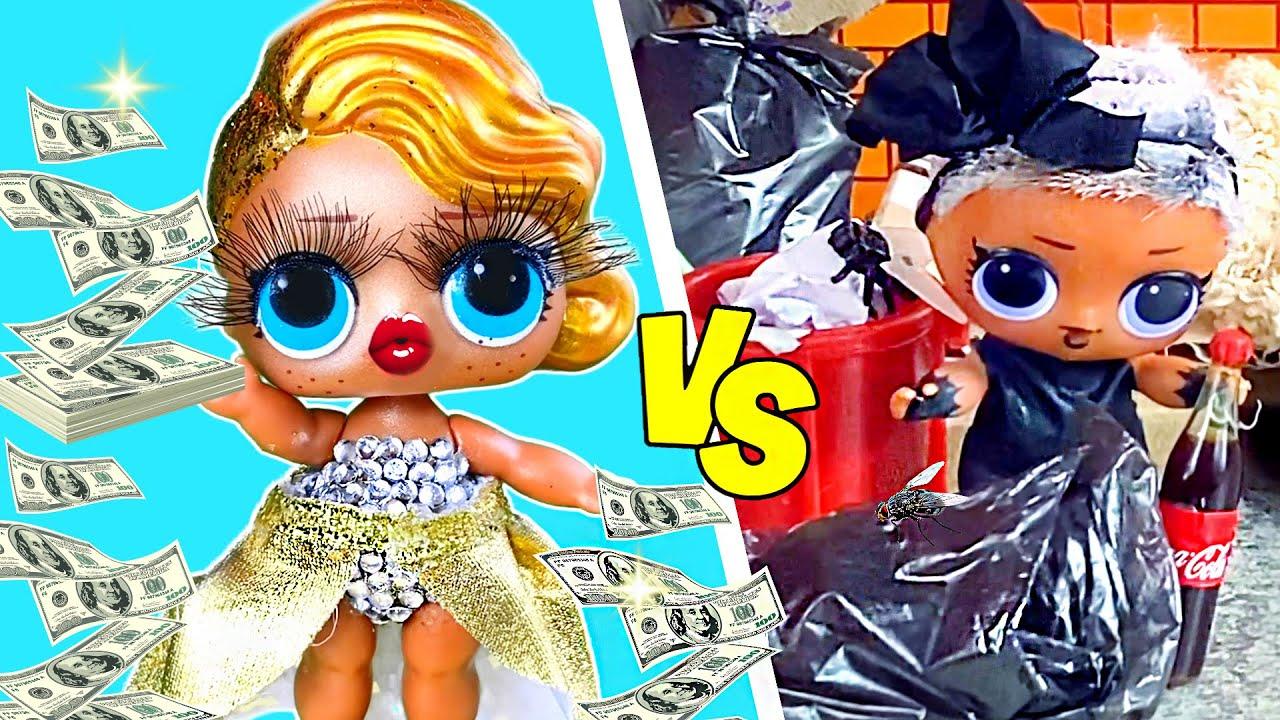 Богатая VS бедная кукла! 10 идей для кукол ЛОЛ сюрприз