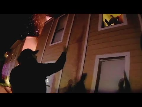 Dramatic moment boy jumps from burning building in Texas rescue