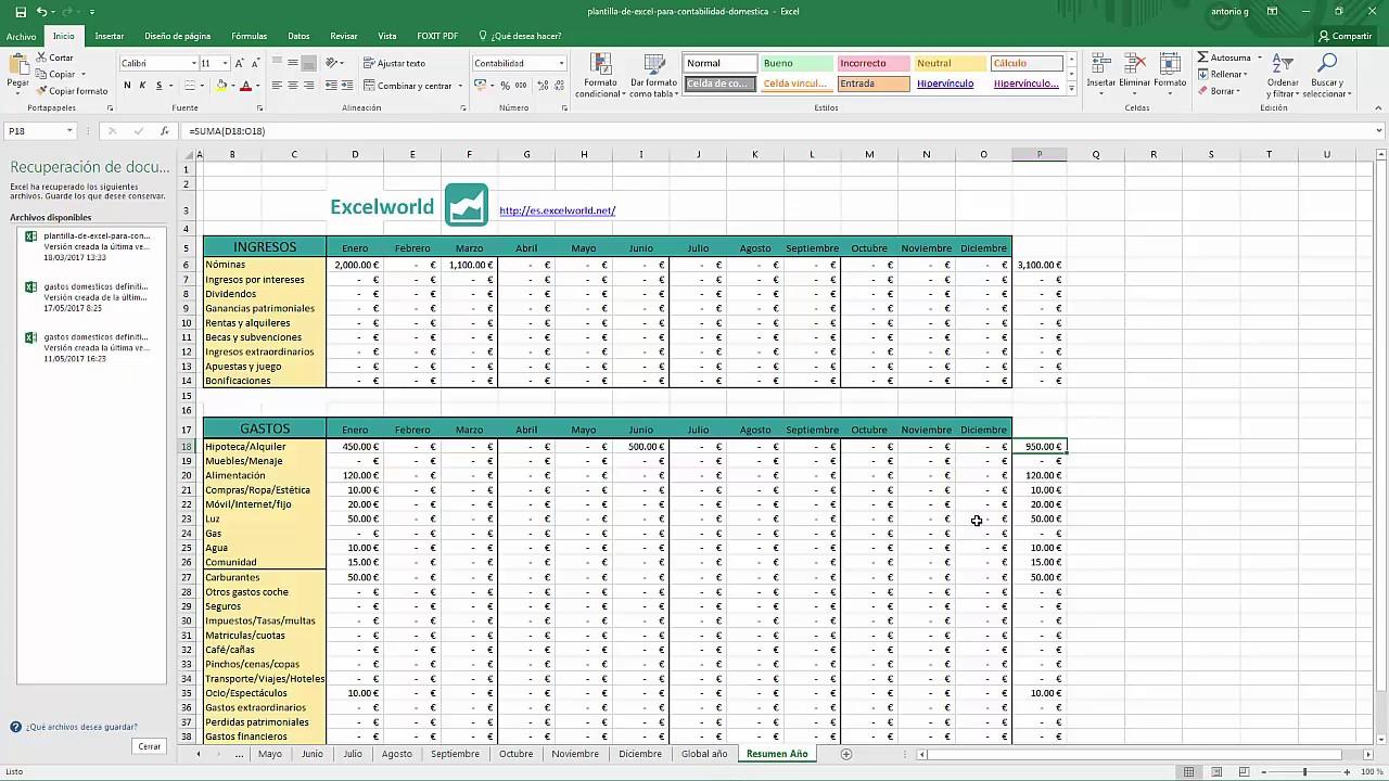 Fantástico Plantilla De Hoja De Cálculo Contable Excel Friso ...