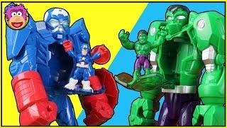 PlaySkool Heroes HULK and CAPTAIN AMERICA Mech ROBOTS Battle a GIANT Joker and Imaginext Doomsday