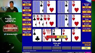 5 Play Deuces Wild Bonus Video Poker LIVE [Online Gambling with Jersey Joe # 12]
