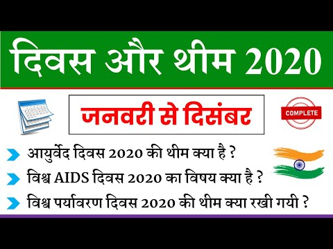 Important Days And Themes 2020 | महत्वपूर्ण दिवस और थीम | Current Affairs January 2021 | NTPC GK