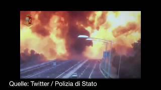 Tanklaster: Explosion in Bologna auf der Autobahn