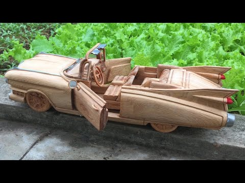 Wood Carving --- 1959 Classic Cadillac Convertible --- Wood Art