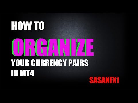 HOW TO ORGANIZE YOUR CURRENCY PAIRS IN MT4