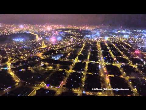 Flew my drone over the fireworks in Lima, Peru
