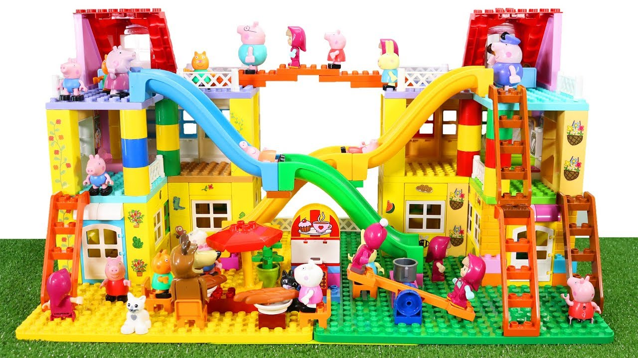 Peppa Pig Lego House Construction Sets With Water Slide Lego Duplo Toys For Kids 2
