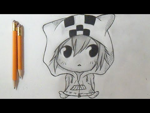 "Cómo dibujar Chico CHIBI MOMORO ANIME ""Minecraft"" 