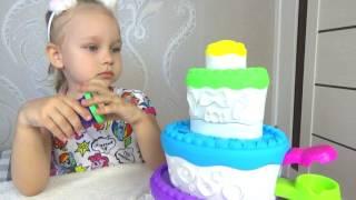 КЛАССНЫЙ тортик Плей До !!! Алиса празднует день рождения тигрёнка ! Развлечение для детей