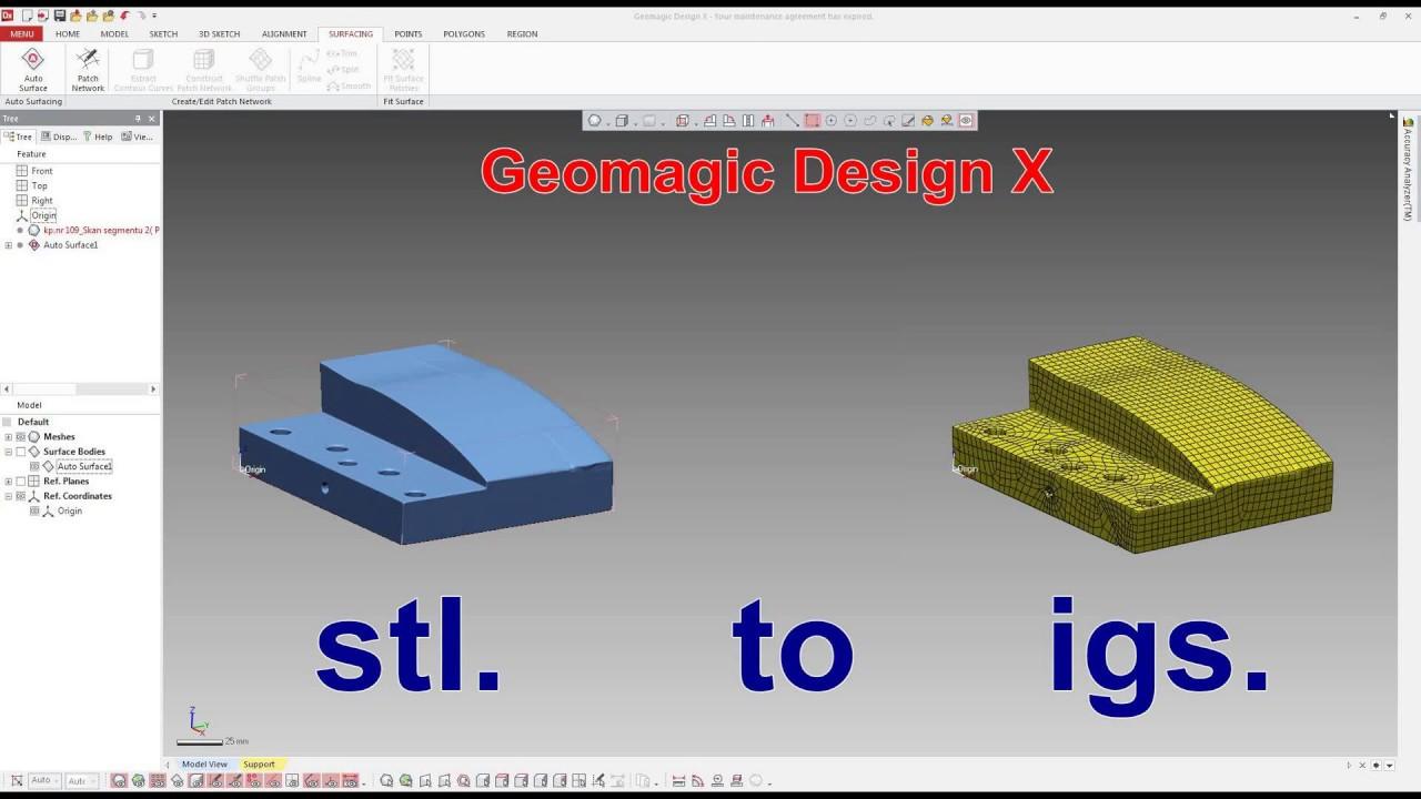 Geomagic Design - stl  to igs