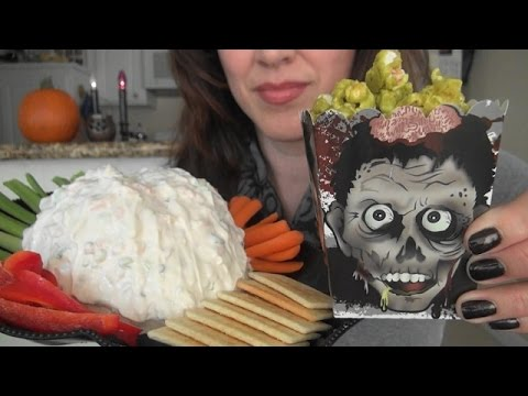 ASMR: Brain Dip | Zombie Boogers | Gummy Body Parts | Halloween Party Snacks | Eating Sounds