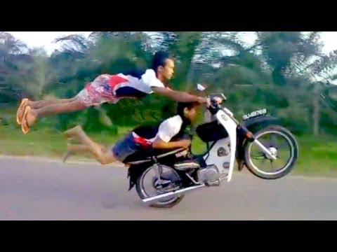 INSANE DEATHDEFYING MOPED STUNTS by Two Crazy Talented Riders