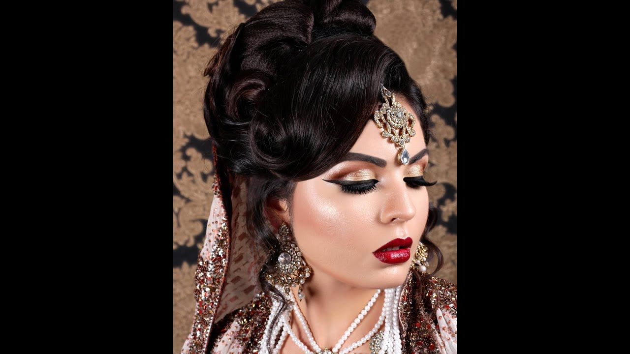 asian indian pakistani bridal look modern hair style - youtube