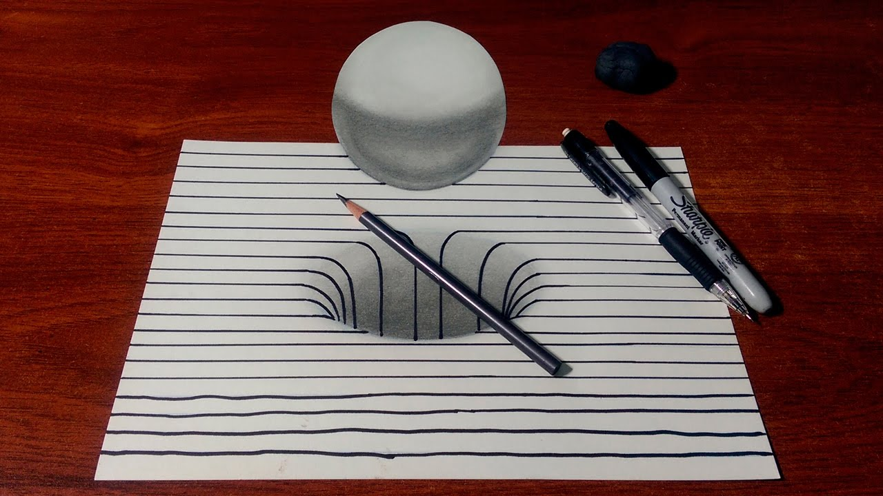 Drawing a 3D Hole/Sphere with Lines - YouTube
