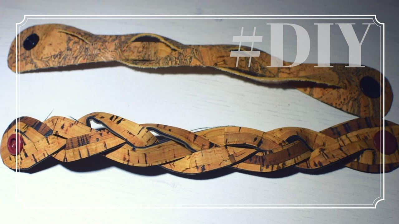 Lederarmband flechten aus einem stück  Flechten mal anders | Armband aus Kork DIY | Schmuck aus Kork ...