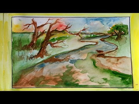 Landscape| watercolor| how to paint landscape in watercolor for beginners