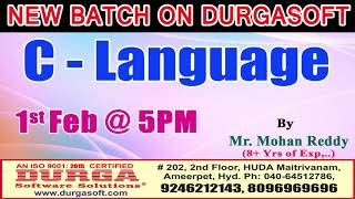 New Batch On C-Language by Mr. Mohan Reddy Demo On 1st Feb @5PM At Maitrivanam(HYD) - Offline Batch