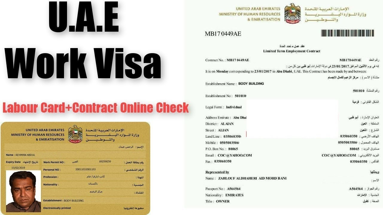 Get Online U A E Work Visa - Labour Card - Salary Contract 2019