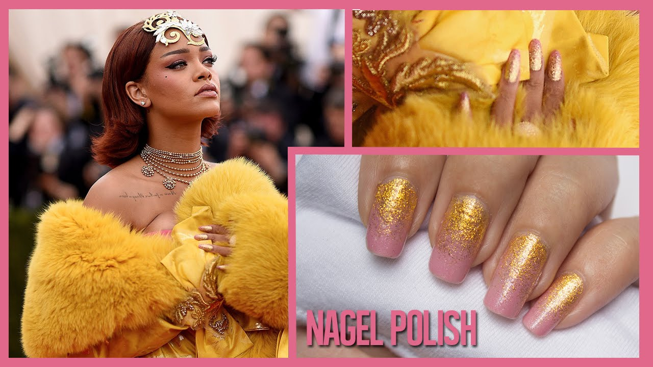 pink und gold glitzer ombre n gel rihanna met gala 2015 nails youtube. Black Bedroom Furniture Sets. Home Design Ideas