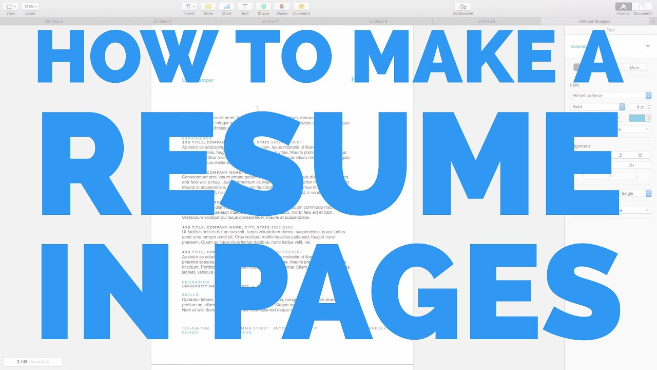 How To Make A Resume On A Mac Simple How To Make A Resume In Pages For Mac  Youtube