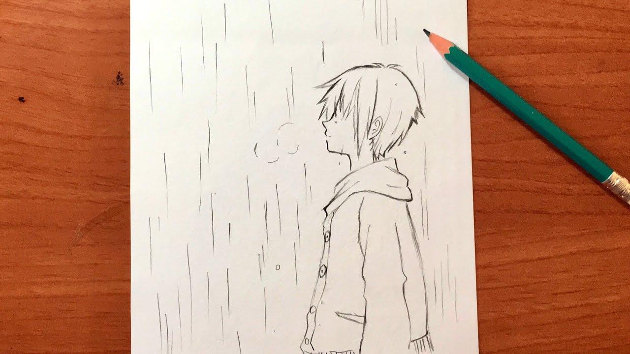 رسم أنمي حزين رسم ولد تحت الأمطار بقلم رصاص وبطريقة جميييلة