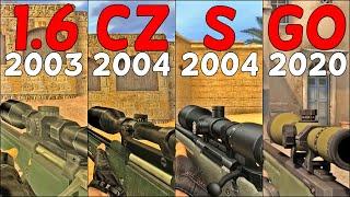 CS:GO vs. CS:S vs. CS:CZ vs. CS 1.6 - Weapons Comparison 4K 60FPS