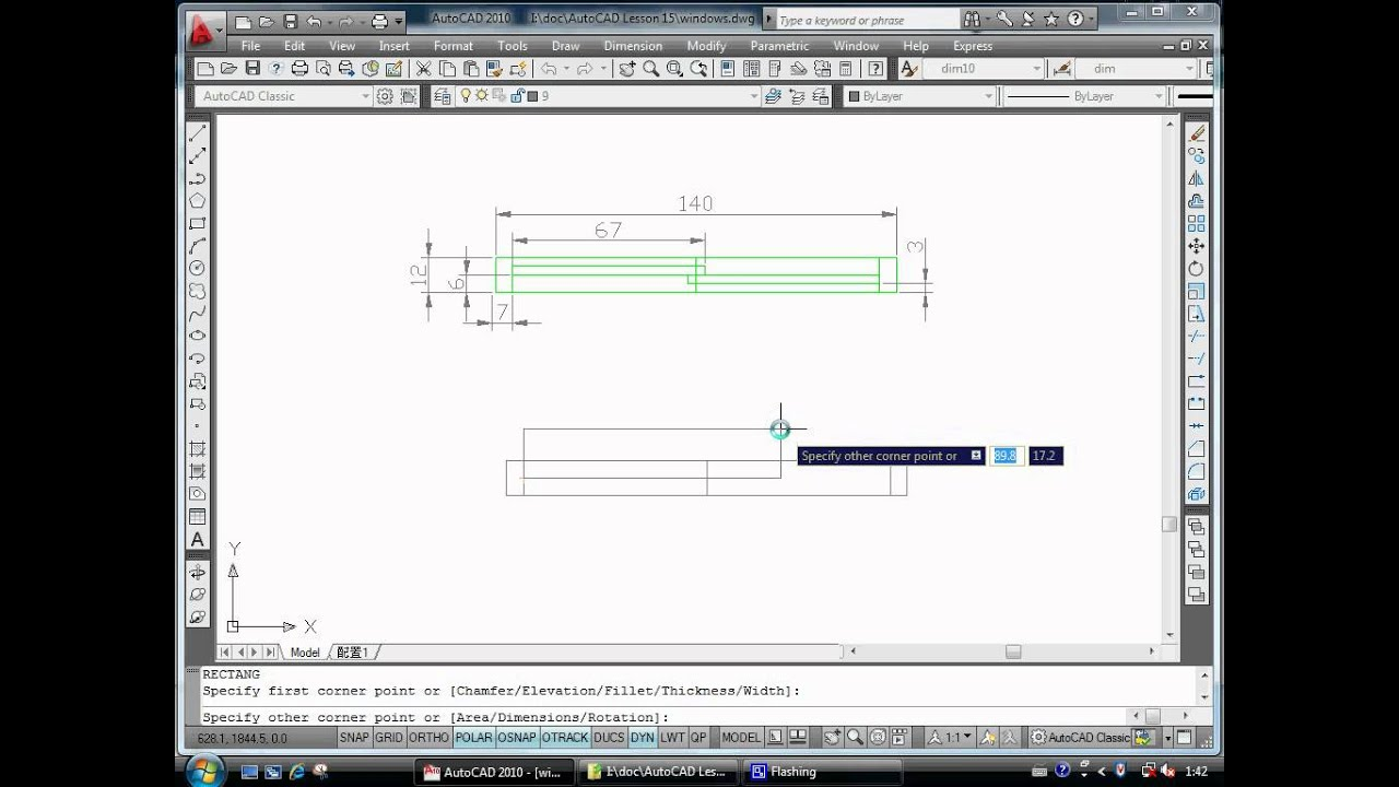 Autocad Exercise Draw A Sliding Window Tutorial Youtube