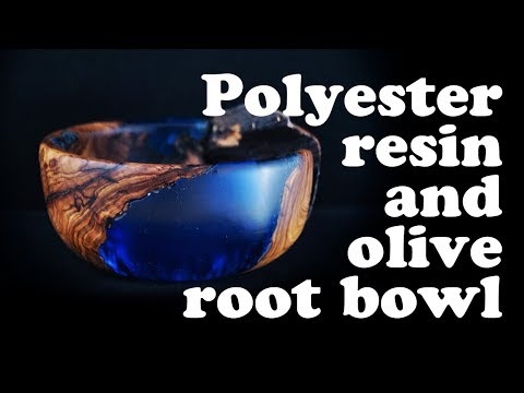 Woodturning a Polyester resin and olive root bowl !