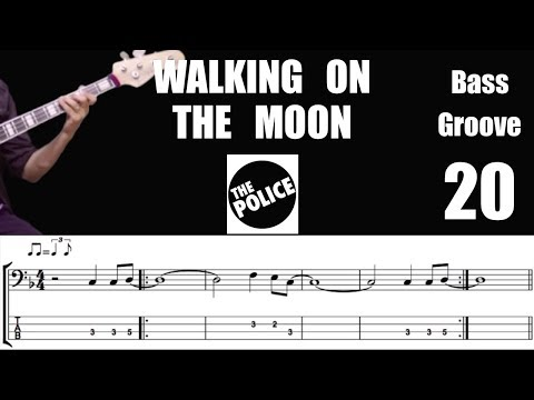 WALKING ON THE MOON (The Police) Bass Cover with Score Lesson