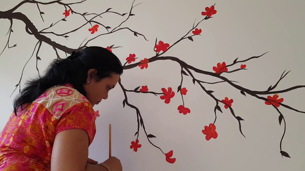 Lovely Red Flower Branches Wall Painting By Babita Keshan Youtube