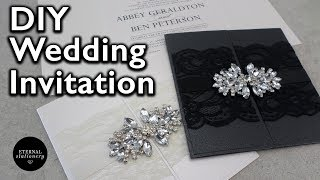 How to make an elegant diamond gatefold wedding invitation | DIY invitations | Eternal Stationery