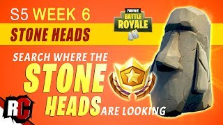 Fortnite STONE HEADS |  Search Where the Stone Heads are Looking (Week 6 Season 5)