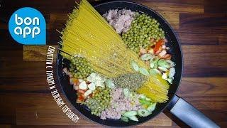 Все в одной кастрюле. Спагетти с тунцом и зеленым горошком. One Pot Pasta