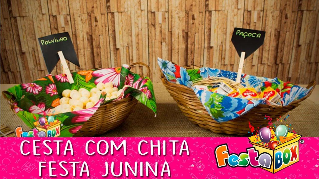 Decoraç u00e3o de Festa Junina Cesta de Palha com Prendedor! YouTube -> Decoração De Mesa Para Festa Junina Simples