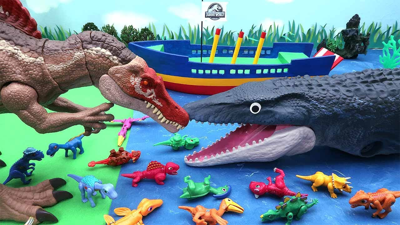 Mosasaurus VS Spinosaurus! Protect Dinosaur Eggs. Dinosaur Movie 공룡 대결 모사사우루스 VS 스피노사우루스