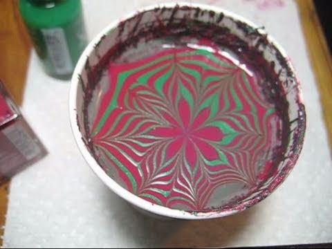 christmas poinsettia water marble