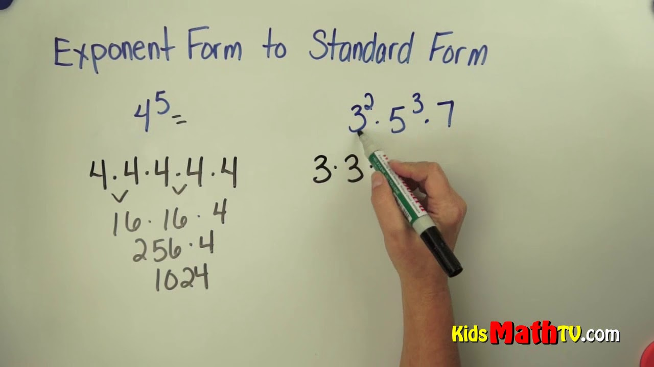 standard form with exponents Convert From Exponent to Standard Form - Pre-algebra Lessons For 2rd, 2th,  2th, 2th, 2th Grade Math