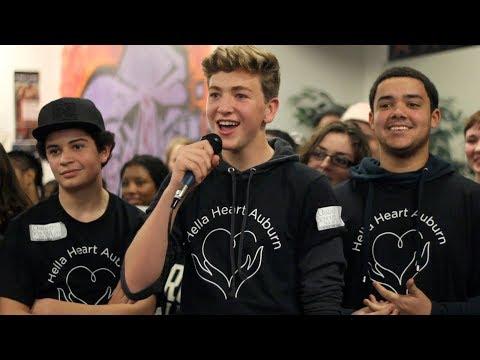 A flash mob at Oakland School for the Arts featuring Noah Mac