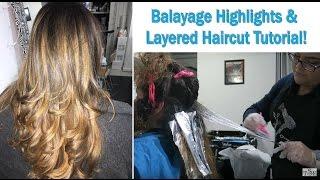 How to Balayage + Long Layered Haircut Tutorial