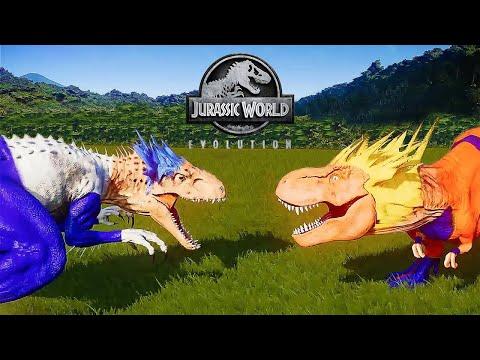 DRAGON BALL Z - GOKU VS VEGETA DINOSAUR MOD - JURASSIC DINOSAUR BATTLE || JURASSIC WORLD EVOLUTION |
