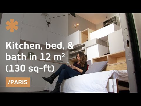 Paris micro-apartment stacks kitchen, bed, bath in 129 sq ft