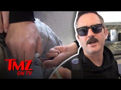 Thomas Lennon Signs Our Camera Man's Crotch!  TMZ TV