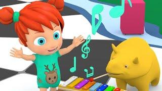 Учим цвета и цифры -  Музыкальные инструменты  - Динозаврик Дино и дети