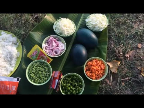 Emu egg Fried rice made in My Village - Trying a differnt food in My Village - Cooking in My Village