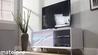 meuble tv moderne blanc brillant ornela