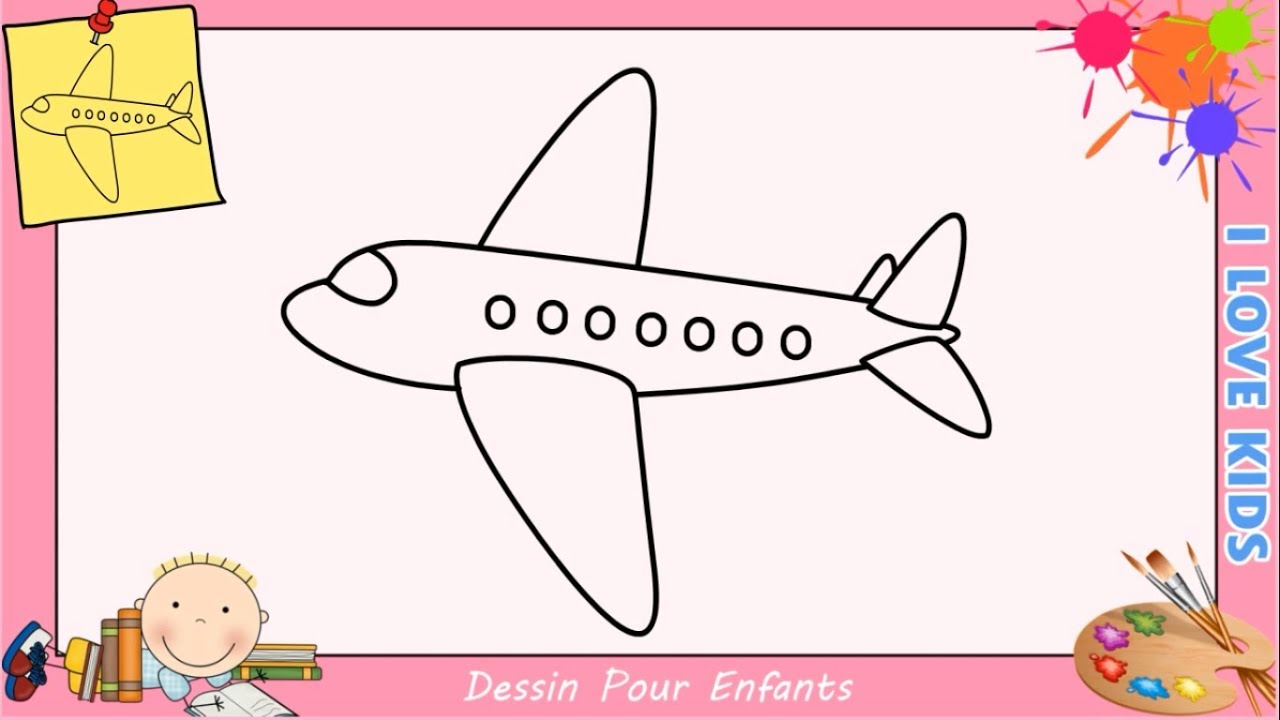 Comment dessiner un avion facilement etape par etape pour enfants 4 youtube - Dessin d avion facile ...
