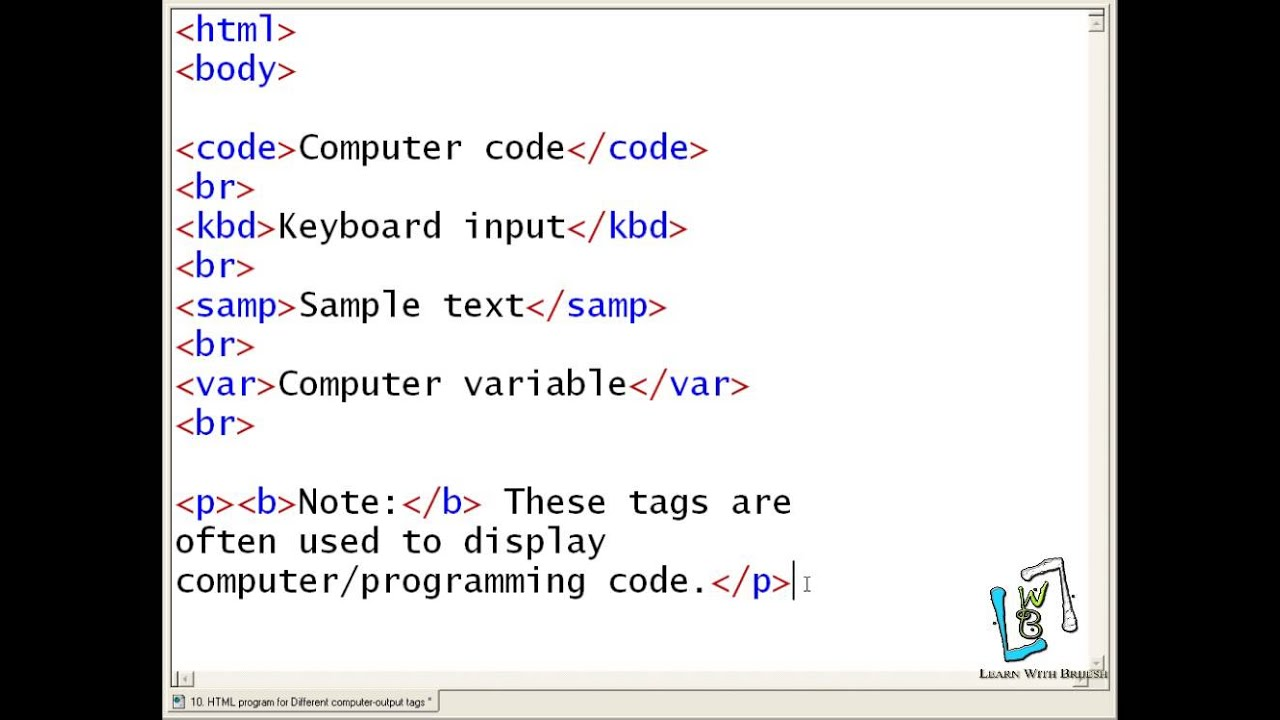 10 Html Program For Different Computer Output Tags